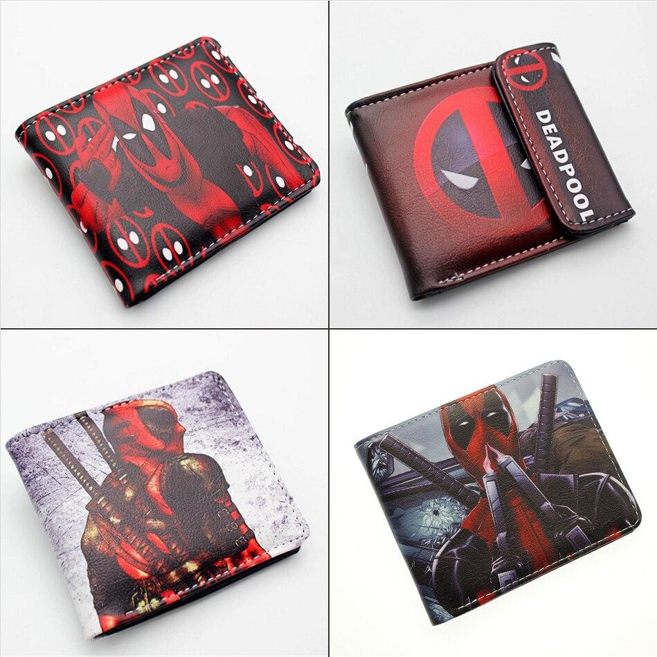 DC Deadpool 3 Pu Short Wallet Boys Girls Men's Student Button Bifold Photo Card Holder Layers Leather Cartoon 3D Print Wallets