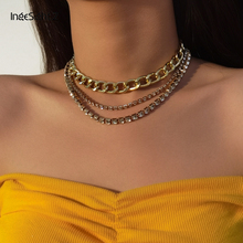 IngeSight.Z 3Pcs/Set Steampunk Street Curb Cuban Miami Choker Necklace Shiny Rhinestone Crystal Chain Clavicle Necklaces Jewelry