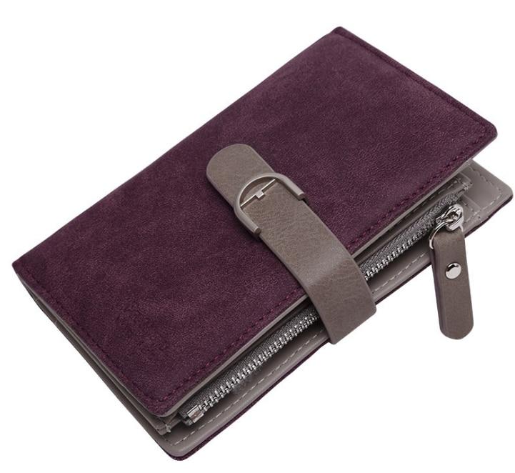 Новейший женский кожаный винтажный кошелек, брендовый дизайнерский кошелек на молнии для монет, кошельки, держатель для карт, клатч для девочек - Цвет: Burgundy