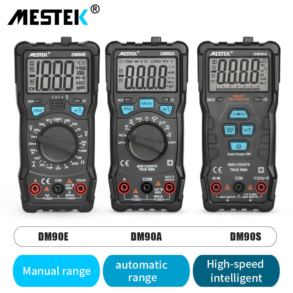 Mestek Digitale Multimeter DM90A/E/S Ncv 6000 Telt Auto Ranging Ac/Dc Voltage Meter Zaklamp Terug licht Universele Multitester