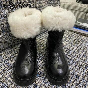 Ollymurs futerkowe buty skórzane buty zimowe buty na platformie najnowsze buty trenerzy moda kobiety buty buty damskie wygodne buty tanie i dobre opinie Prowow Płaskie z podstawowe SYNTETYCZNE CN (pochodzenie) Zima Połowy łydki RZYM Stałe Adult okrągły nosek SKÓRA KLEJONA