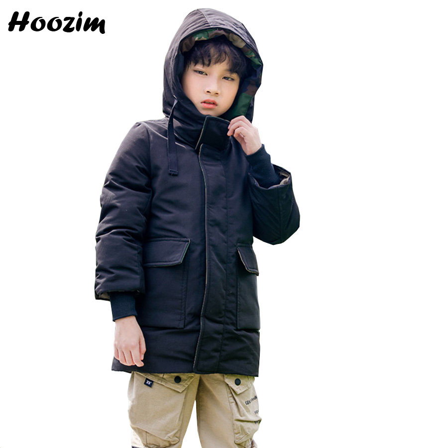 2019 European Quilted Jacket For Boys 6-13 Years Fashion Army Green Hooded Outerwear Children High Street Winter Long Coat Girls