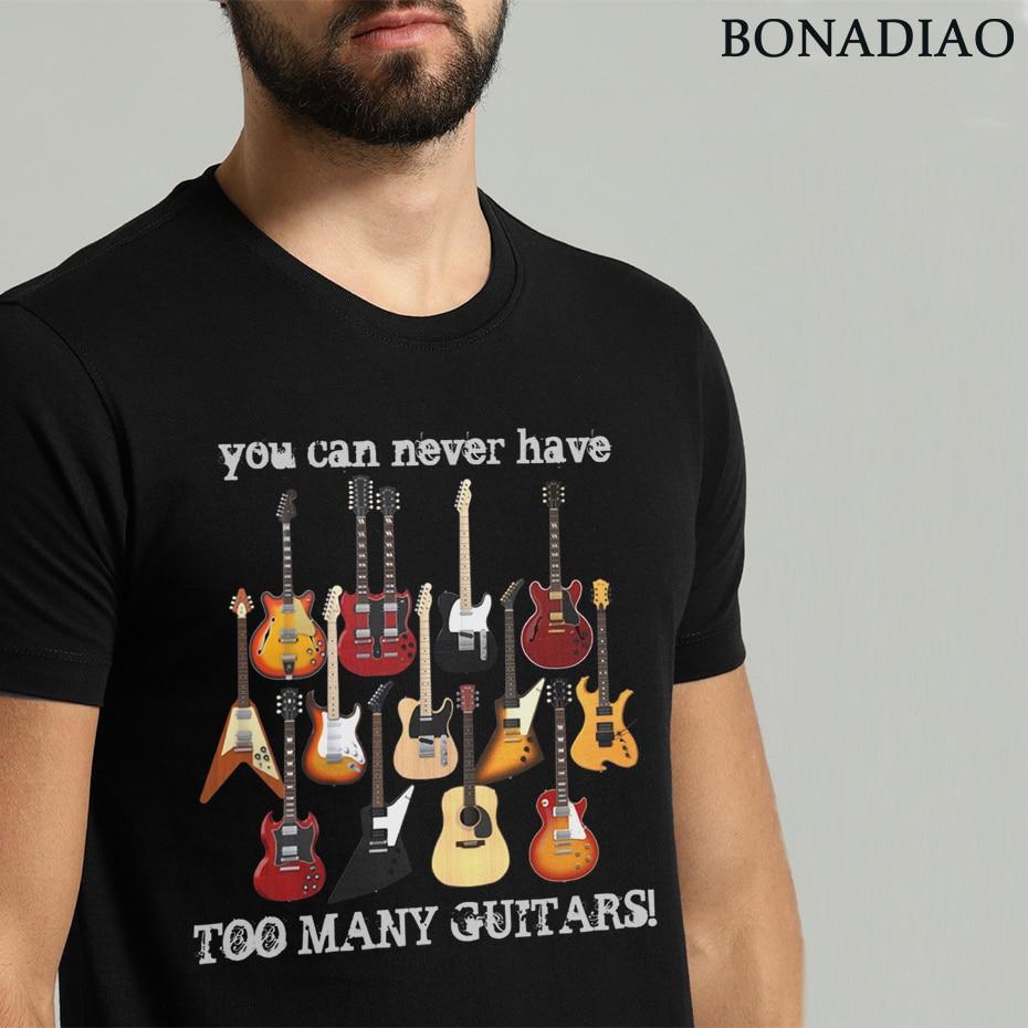 Fashion Electric Guitar Tee Shirt Male Big Size Music Style T Shirt