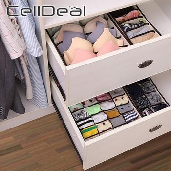 Multi-size Foldable Storage Boxes Underwear Closet Drawer Divider Lidded Closet Organizer Storage Box For Ties Socks Bra Bedroom