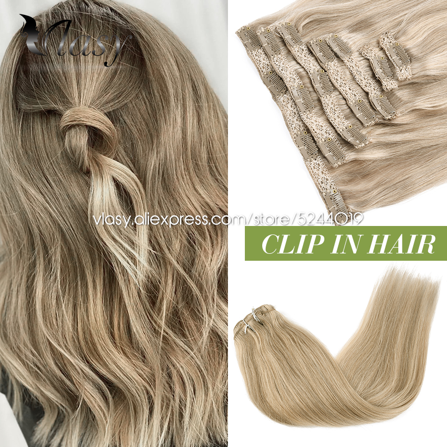 Vlasy 16''-24'' 7pcs/set Full Head Machine Remy Clip in Hair Extensions Silky Straight Natural Double Weft Lace Clips On Hair