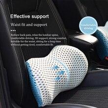 Car seat cushion Headrest Pillow Lumbar Cushion Support Breathable Posture correction 3d memory cotton massage car accessories