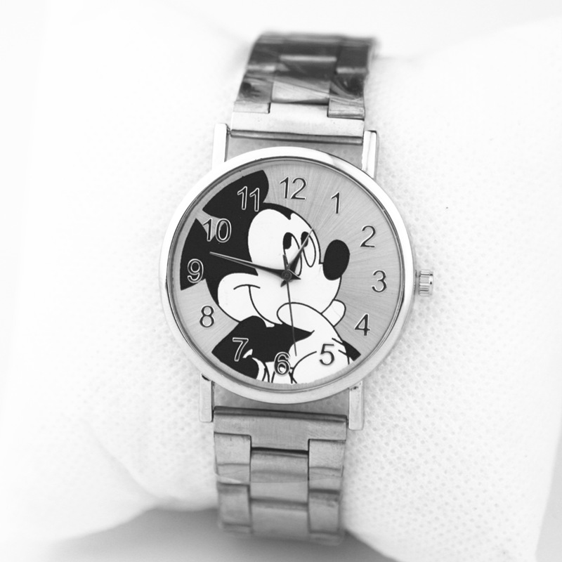 Zegarki Meskie New Fashion Mickey Brand Women Watch Silver Stainless Steel Cartoon Quartz Watch Student Sport Watch Chasy