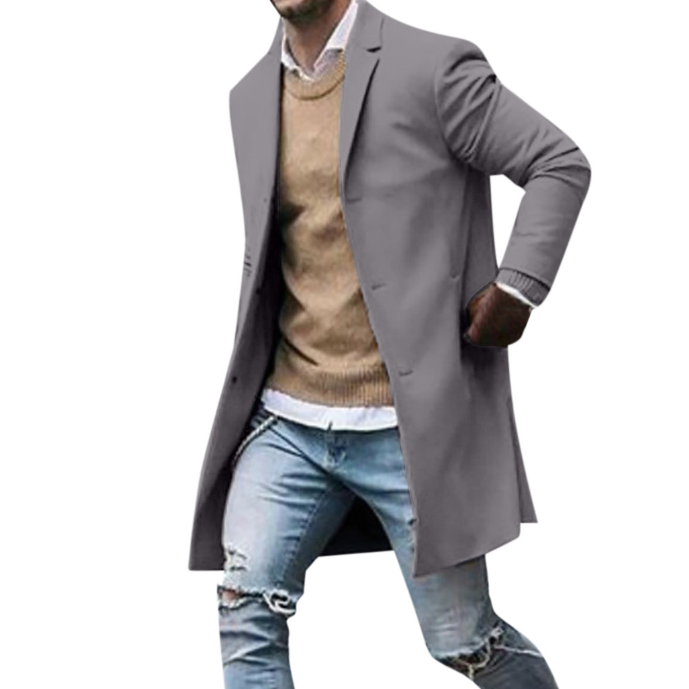 Men's Overcoat Fashion Autumn Winter Button Slim Long Sleeve Suit Jacket Trench Coat Casual high quality Mens Tops Blouse 020New 9