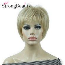 Strongbeauty curto reta perucas de cabelo macio em camadas trepada ombre loira/vermelho peruca sintética