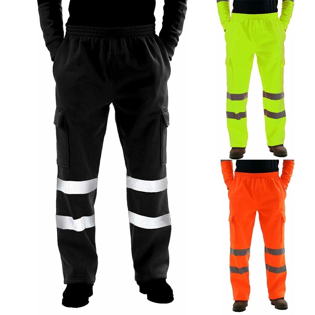 Men Road Work High Visibility Overalls Pocket  Work Trouser Pants Pantalones Hombre Streetwear Joggers Sweatpants Pantalon Homme