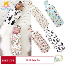 Newborn Baby Blanket Swaddle Sleeping Bag Sleeping Bag + Headband 2 Piece Cotton Newborn Anti-kick Sleeping Bag