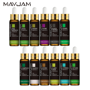 10ML Pure Natural Ginger Body Essential Oil Basil Camphor Pepper Fennel Clary Sage Myrrh Thyme Vetiver Pine Needles Massage Oil