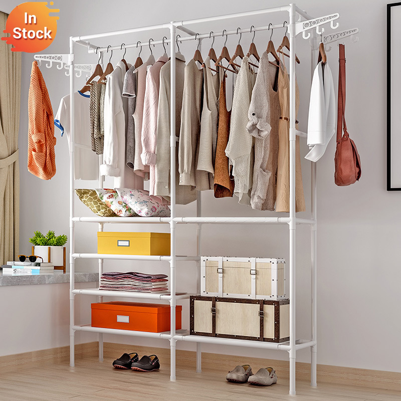 Open Portable Simple Wardrobe Easy Assembed Clothes Hanger Bedroom Sheets Boxes Bedclothes Storage Cabinet Home Clothing Closet