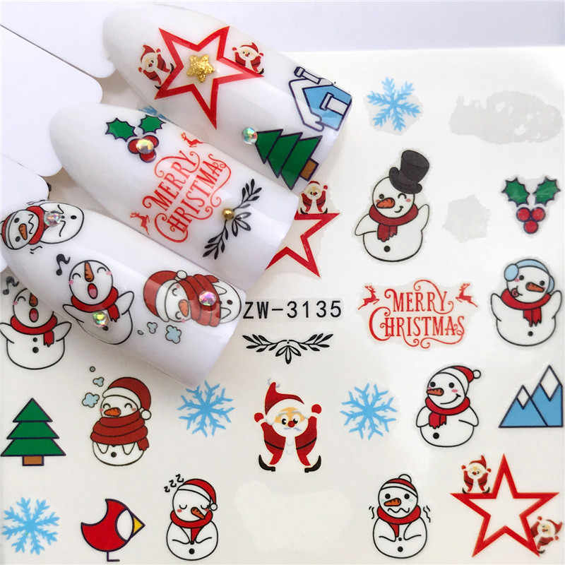 1pcs Christmas Theme Xmas Santa Snowman Designs for Nail Art DIY Craft Wraps Water Transfer Sticker New Year Nail Decal Gift