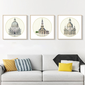European Architecture Canvas Wall Nodric Art Paris Noter Dame Painting Siena Nduomo Posters Pictures for Living Room Decoration image