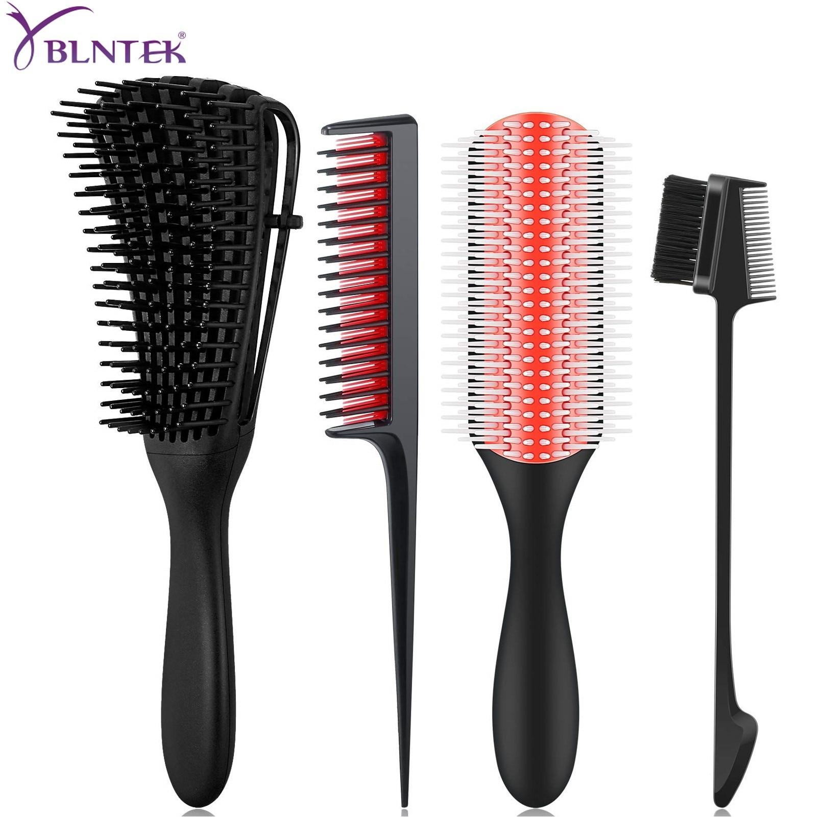 Щетка для распутывания волос YBLNTEK, распутыватель волос, 9 рядов, с нейлоновой щетиной, щетка для края, гребень для крысиного хвоста для 3-4c, вью...