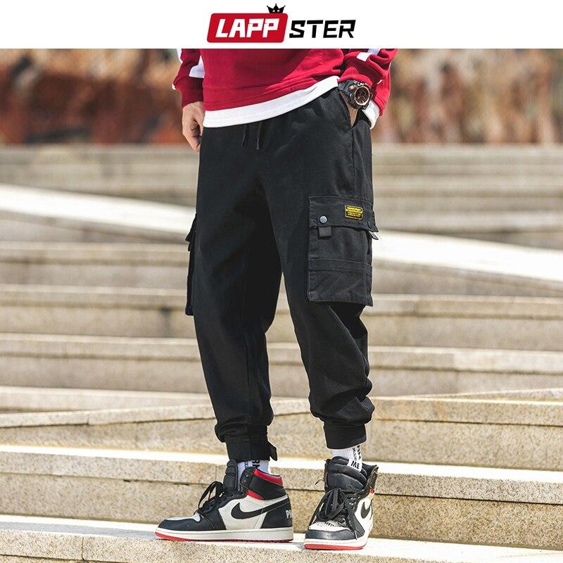 LAPPSTER Black Harajuku Cargo Pants For Men 2019 Overalls Mens Streetwear Hip Hop Sweatpants Autumn Joggers Fashions Track Pants