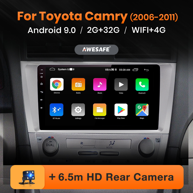 AWESAFE PX9 for Toyota Camry 6 40 50 2006-2011 Car Radio Multimedia video player GPS No 2din 2 din Android 9 0 2GB 32GB