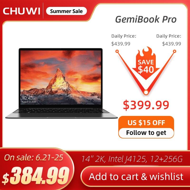 CHUWI GemiBook Pro 14 дюймов, 2K Экран ноутбук 12 Гб Оперативная память 256 ГБ SSD Intel Celeron 4 ядра Windows 10 Мини компьютер с подсветкой клавиатуры
