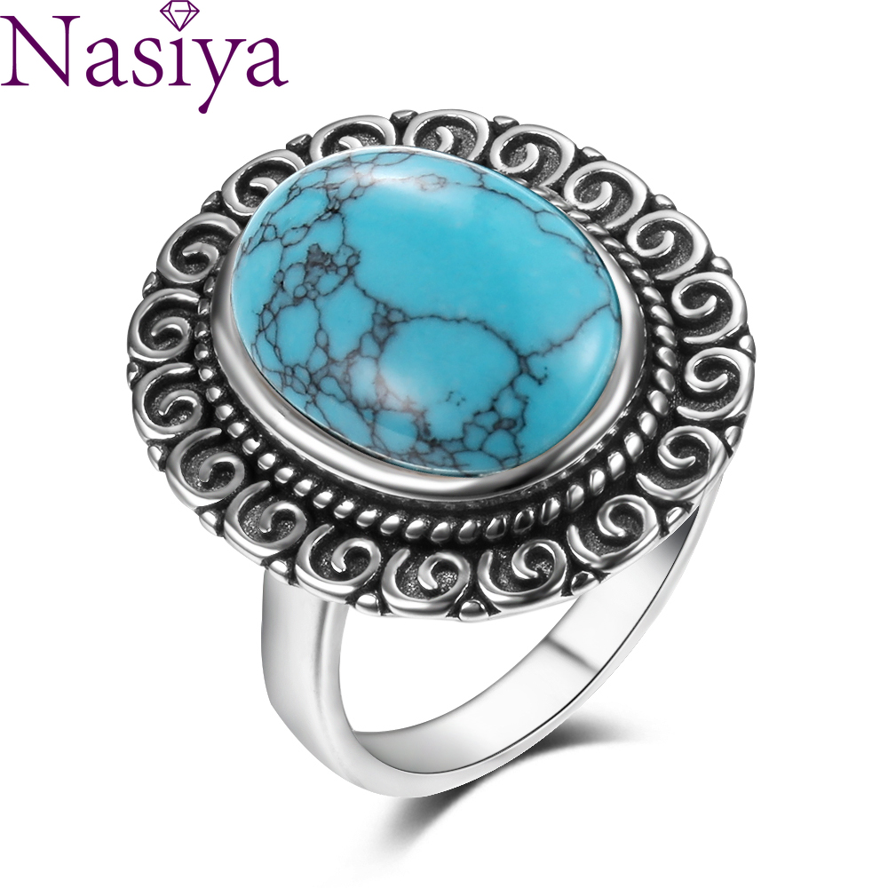 Charms 10x14MM Natural Turquoise Rings Women's 925 Sterling Silver Jewelry Ring Vintage Anniversary Party Gifts For Wome