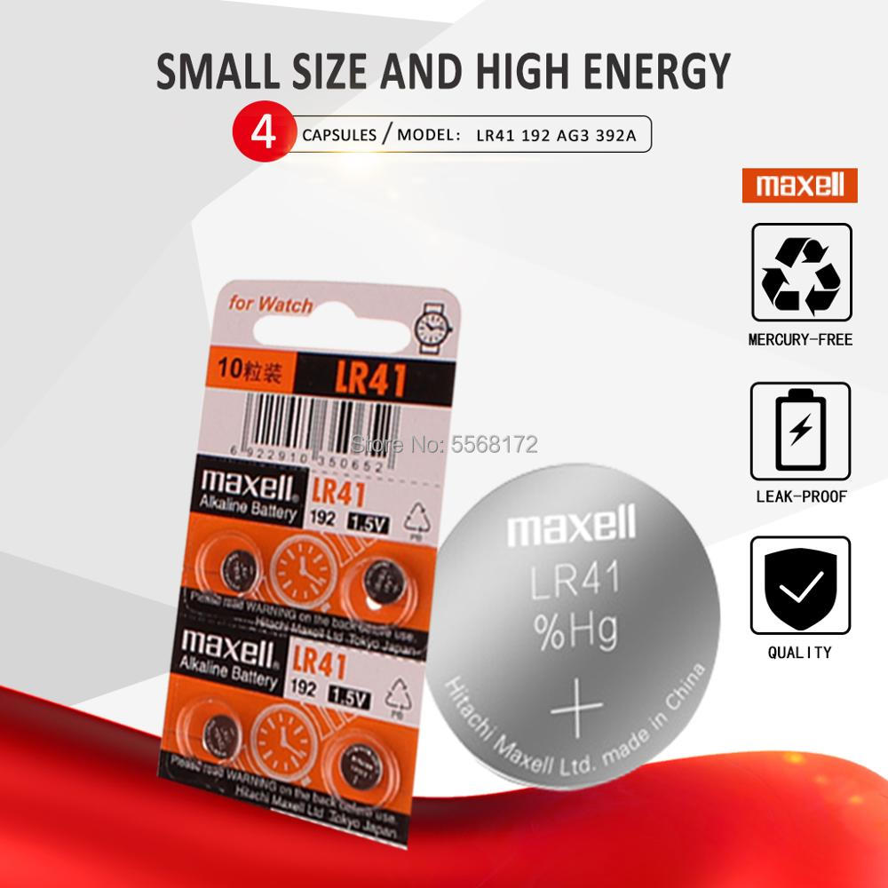 4pcs LR41 Button AG3 G3A L736 192 392A Zn/MnO2 1.5V Cell Batteries For Maxell 100% Original SR41 Lithium Coin Batteries