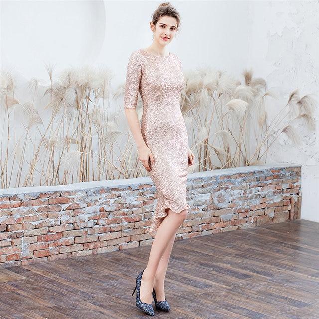 Gold Prom Dress It's Yiiya DX275 Shiny Sequined O-neck Vestidos De Gala Elegant Half Sleeve Mermaid Dresses Women Party Night 3