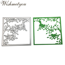 WISHMETYOU Metal Cutting Dies Branch Photo Frame Scrapbook Paper Art Greeting Cards Handcrafted Square Crafts