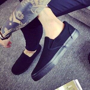 Image 1 - חדש 2019 אופנה נעלי בד גברים סניקרס נמוך למעלה שחור נעליים באיכות גבוהה גברים של נעליים יומיומיות מותג שטוח בתוספת גודל 46 ZHK168