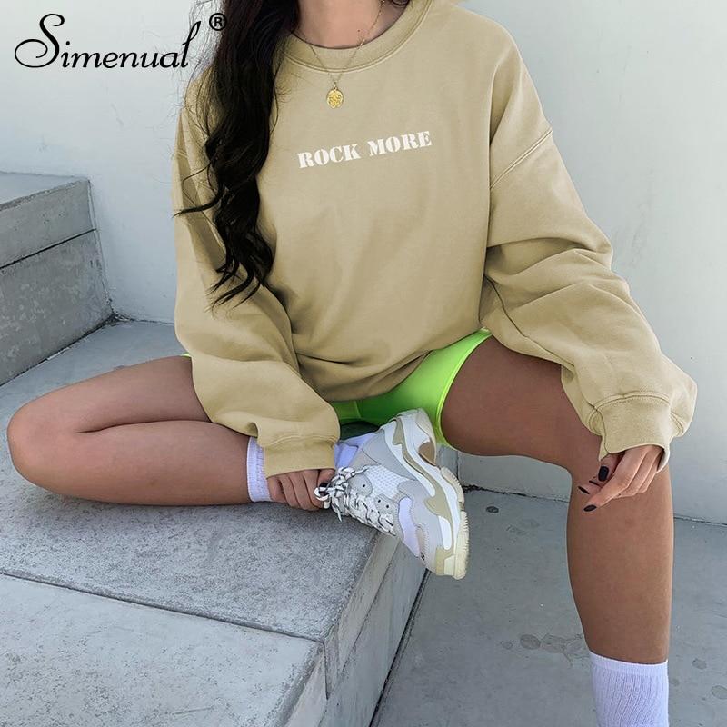 Simenual Casual Sports Wear Women Sweatshirts Neon Letter Print Fashion Autumn Hoodies Workout Long Sleeve Streetwear 2019 Top