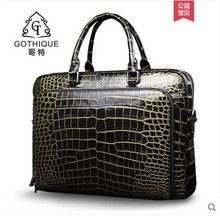 gete New crocodile skin belly bag for men leather handbag business bag 24K polished gold crocodile skin bag briefcase men bag недорого