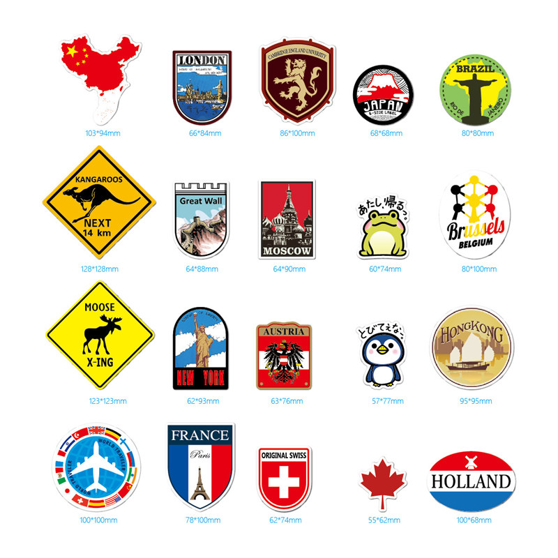 Image 3 - 39Pcs Fashion Brand Logo Travel Map Sticker Waterproof Vinyl Stickers For Laptop Cover Skateboard IPad MacBook Car Luggage Decal-in Laptop Skins from Computer & Office