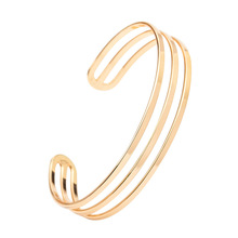 Women Fashion Jewelry 3 Layers Gold Black Silver Color Opening Cuff Bracelets Bangles