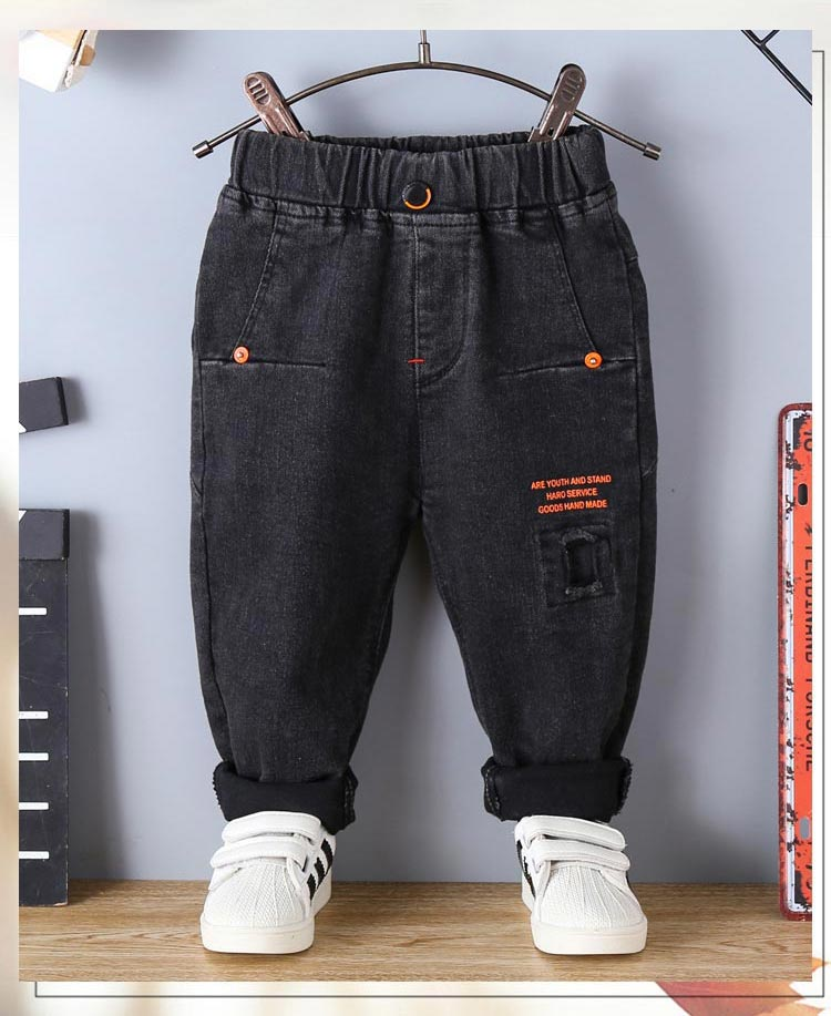 calças denim criança infantil quente mais veludo