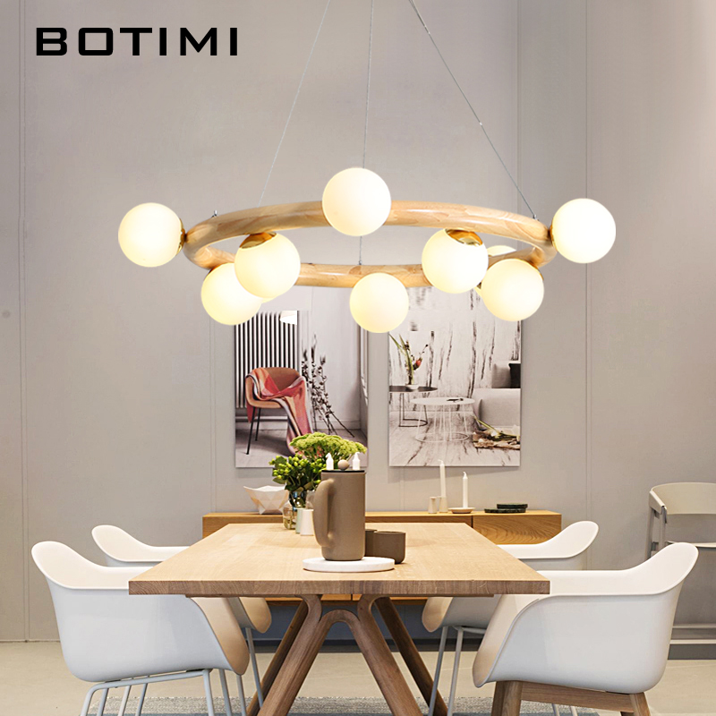 BOTIMI Round Shaped Wooden LED Chandelier For Living Room Glass Ball Modern Cord Hanging Chandeliers Kitchen Lighting Fixture Салфетницы