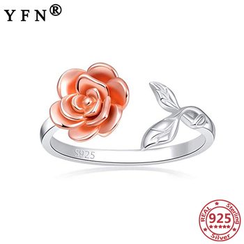 YFN 925 Sterling Silver Rose Rings For Women Adjustable Silver Rings 925 Silver Woman's Jewelry Valentine's Day Gift Mom's Gifts