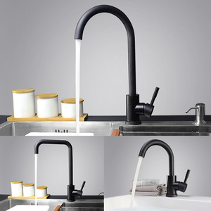 Image 5 - Modern Stainless Steel  360 Rotate Hot Cold Water Basin Faucet Bathroom Kitchen Faucets Single Lever Black Basin Mixer
