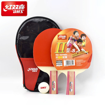 DHS Quality 2pcs Table Tennis Bat Racket Double Face Pimples In Long Short Handle Ping Pong Paddle Racket Set with Bag 2pcs ping pong racket table tennis blade long short handle pingpong bat set with 3 balls double face pimples in rubber blades