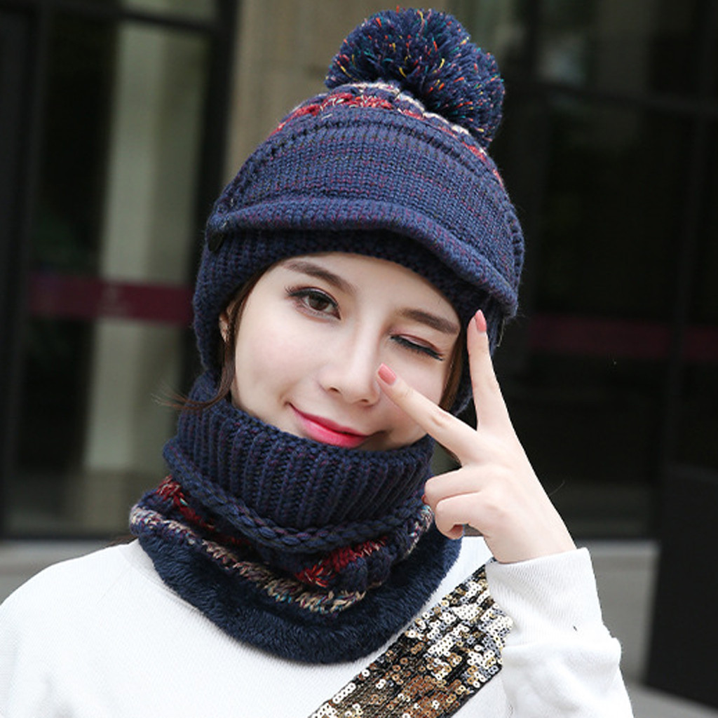 Unisex Multi-function Winter Patchwork Warm Thickened Thermal Mask Scarf Hat Winter Hats For Children Шапка Женская Зимняя