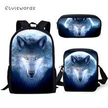 ELVISWORDS Childrens 3PCs Set Backpacks Fantasy Wolf Pattern Kids School Book Bags Cartoon Students Backpack/Flaps Bag/Pen