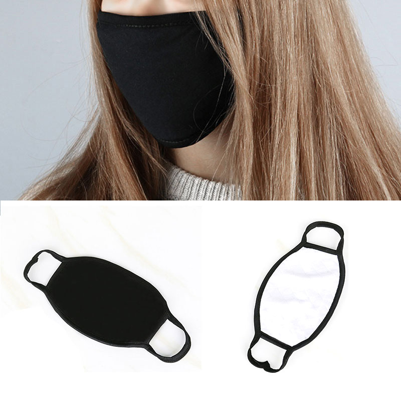 Unisex Simple Black Masks Comfortable Soft Cotton Anti-Dust Warm Mouth Face Mask Solid Color Warm Black Masks For Women Men