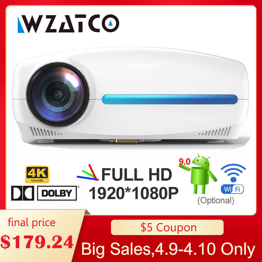 Wzatco C2 4K Full HD 1080P LED Proyektor Android 9.0 WiFi Smart Home Theater Video Projector dengan koreksi Keystone
