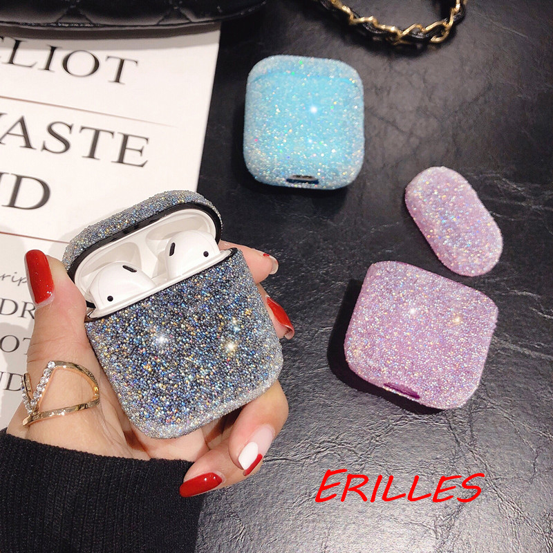 New Wireless Bluetooth Crystal Glitter Earphone Case For Apple Airpods AirPods Accessories 1 2 Earphone Crystal Cover