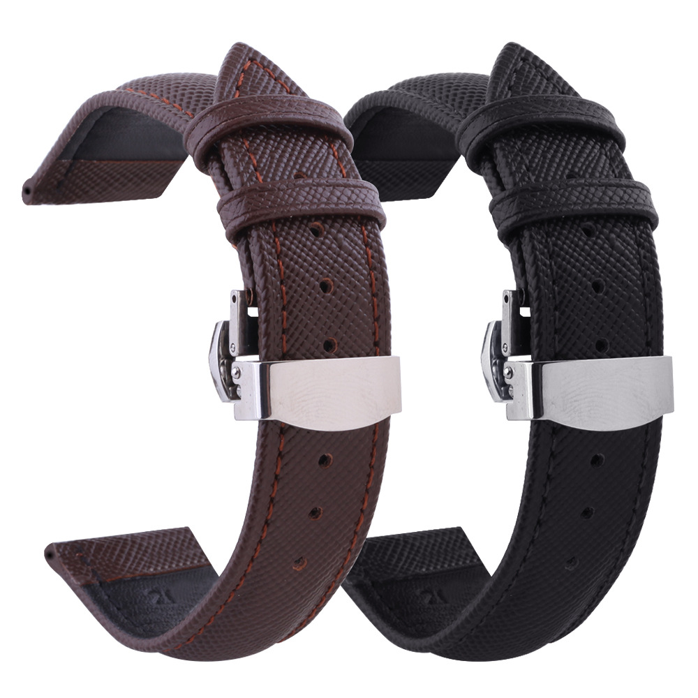 BEAFIRY Cross Grain Cowhide Leather Watch Band 18mm 20mm 22mm 24mm Automatic Butterfly Buckle Watch Straps Watchbands Belt Brown