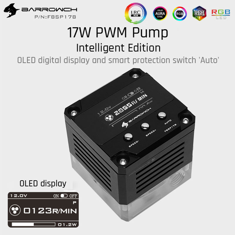 Barrowch FBSP17B, pompe intelligente 17W PWM, affichage numérique OLED, série DDC, pompe de refroidissement par eau à contrôle de vitesse manuel et PWM