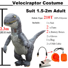 Jurassic World 2 Velociraptor Costume Inflatable T REX Dinosaur Costume Halloween Cosplay Adult Fantasy Raptor Mascot Costume(China)