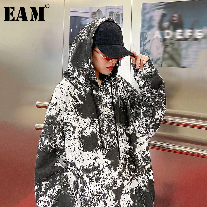 [EAM] Loose Fit Black Pattern Print Oversized Sweatshirt New Hooded Long Sleeve Women Big Size Fashion Tide Spring 2020 1N815