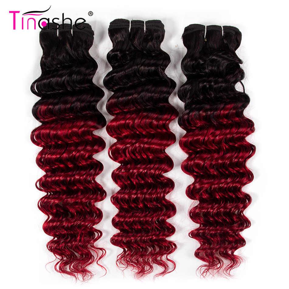 Tinashe Haar Diepe Golf Bundels 1B Rood Ombre Bundels Remy Braziliaanse Menselijk Haar Weave Gekleurde 1B Bourgondië 3 Bundels
