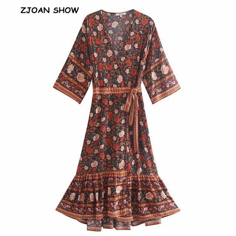 2019 Bohemian Cross V Neck Flower Print Front Slit Wrap Dress Ethnic Holiday Woman Bow Lace Up Waist Maxi Long Dresses BOHO