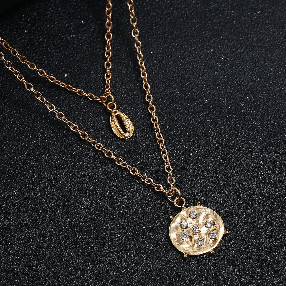 Vintage Simple Geometric Round Necklace Trendy Female Shell double layer Chorker Necklaces Pendants Fashion Jewelry 2019 New in Pendant Necklaces from Jewelry Accessories