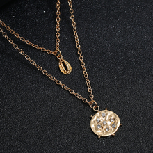 Vintage Simple Geometric Round Necklace Trendy Female Shell double layer Chorker Necklaces & Pendants Fashion Jewelry 2019 New